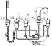 Смеситель на борт ванны AMAZON (5 эл.) A167.5 схема